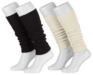 Tobeni 2 Paar Damen-Stulpen Winter Legwarmer mit Wolle für Arm und Bein, Farbe:1x Schwarz 1x Wollweiss, Grösse:One Size