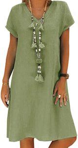 Geblümtes Kleid Damen,Leinenkleider Damen Große Größen,Boho Retro Minikleid V-Ausschnitt Kurzarm Sommerkleider,Armeegrün 3XL