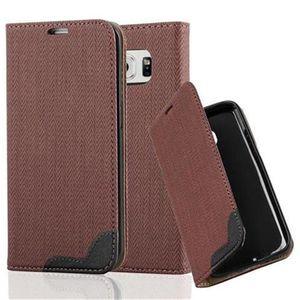 Cadorabo Hülle für Samsung Galaxy S6 EDGE - Hülle in KASTANIEN BRAUN - Handyhülle in Bast-Optik mit Kartenfach und Standfunktion - Case Cover Schutzhülle Etui Tasche Book Klapp Style