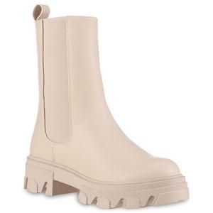 VAN HILL Damen Leicht Gefütterte Plateau Boots Stiefel Profil-Sohle Schuhe 837824, Farbe: Beige, Größe: 39