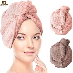 Turban, Ananasgitter-Haarkappe, Mikrofaser, saugfähige, dicke Duschhaube, schnell trocknendes Mikrofasertuch, geeignet für mittleres und langes Haar