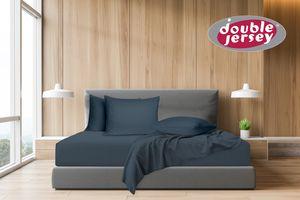 Double Jersey - Spannbettlaken 100% Baumwolle Jersey-Stretch, Ultra Weich und Bügelfrei, 90x200+25  Anthrazit