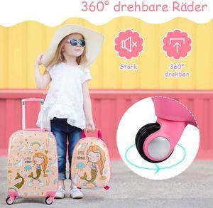 Kinderkoffer-Set Kiderkoffer mit Rucksack, Kinderkoffer mit 4 Rollen, Kofferset Kindertrolley Kindergepaeck Handgepaeck Reisegepaeck Hartschalenkoffer (Pink)