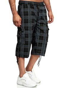 Herren Bermuda Shorts 3/4 Kurze Cargo Hose Kariert Regular Fit Sommer , Farben:Schwarz, Größe Shorts:XL