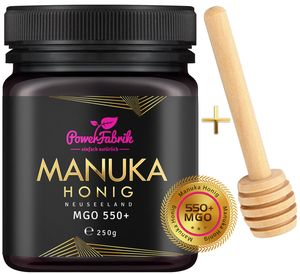 Manuka Honig | MGO 550+ (UMF 15+) | 250g | HALAL | Das ORIGINAL aus NEUSEELAND | HOCHAKTIV, PUR, ROH | 100% natürlich | INKL. GRATIS HONIGLÖFFEL aus Holz | PowerFabrik
