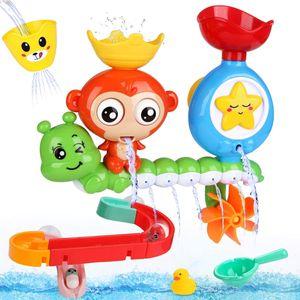 Badespielzeug für Babys, Kinder Wasser Dusche Badewannenspielzeug mit BAU-Puzzle Autorennbahn 14 Stück Spielzeug, Für Kinder Baby ab 18 Monate+