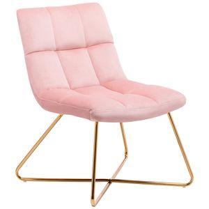 Sessel Stuhl Samt Hellrosa gesteppt Lounge Sessel Relax Sessel Gestell Golden