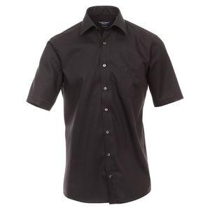 Größe 54 Casamoda Hemd Schwarz Uni Kurzarm Comfort Fit Normal Geschnitten Kentkragen 100% Baumwolle Bügelfrei