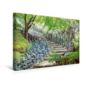 Calvendo  Textil-Leinwand 45 cm x 30 cm quer Wimmel-Buddhas – Unzählige Buddha-Statuen bewachen die Stufen eines Tempels, CALVENDO; 7423808