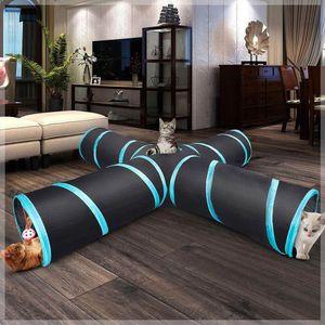Schwarz Katzentunnel Katze Kitty Haustier Spielzeug Spieltunnel 4Wege Faltbar Tunnel
