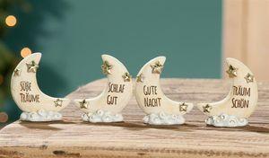 Gilde Poly Mondsichel Weisheit Wolke L 2 x B 6 x H 6 cm beige/gold phosphoreszierend Süße Träume