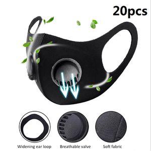 20PC belueftend dreidimensionale Schwammmaske, staub- und staubdicht, wiederverwendbare, waschbare Maske mit Atemventil, Doppelventil