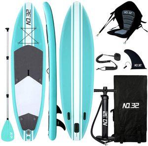 10ft Aufblasbares SUP Board für Stand Up Paddle Board (15cm Dick) | Surfbrett Sets mit Hochdruck-Pumpe + Verstellbare Paddel + Kajak Sitz + 3 Finnen + Füße TPU Paddle Leash + Rucksack & Reparaturset