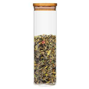 Klarstein Eckiges Glas mit Bambusdeckel Vorratsglas Aufbewahrungsglas,  luftdicht,  mit Silikonring,  umweltfreundlich,  lebensmittelecht,  Inhalt: 2000 ml,  Maße: 10 x 25 x 10 cm (BxHxT)