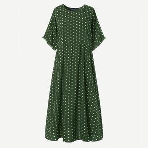 ZANZEA Damenmode Rundhals Kurzarm Kleid Kaftan Langer Gepunktet Pocket Beach Partykleid, Farbe: Grün, Größe: 5XL