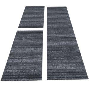 Kurzflor Teppich Läuferset 3-teiligBettumrandung Teppichläufer Einfarbig Grau, Bettset:2 x 80x150 cm + 1 x 80x300 cm