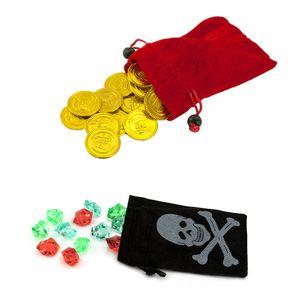 Oblique Unique 2x Piraten Beutel mit Gold Talern Edelsteine Schatz Sack Säckchen Pirat Kinder Geburtstag