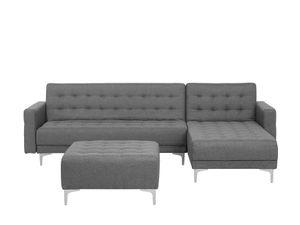 Sofa Grau/ Silber Polsterbezug mit Ottomane und Schlaffunktion Linksseitig L-förmig Wohnzimmer Salon Modernes Design