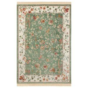 Orientalischer Samt-Teppich mit Fransen Oriental Flowers Grün, Größe:160x230 cm