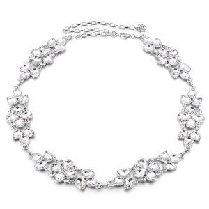 Kristall Strass Taille Kette Charme Gürtel Silber Taillengürtel Kettengürtel
