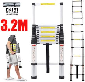 Teleskopleiter Mehrzweckleiter 3,2m Alu-Klappleiter Rutschfester Ausziehbare Robust Stehleiter 150 kg/330 Pfund Belastbarkeit