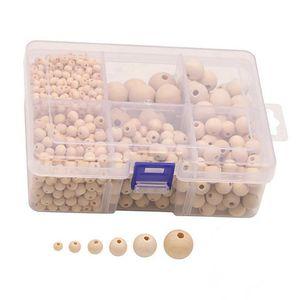 1150 pcs Holzperlen Runde Natürliche Lose Spacer Perlen Naturfarben zum Basteln und Bemalen