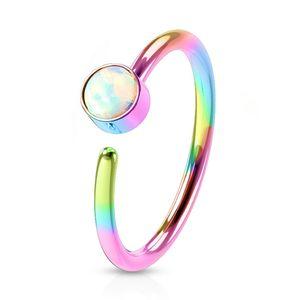 viva-adorno 0,8mm Nasenring Nasenpiercing Piercing Hoop Ring Opal Tragus Helix Cartilage Rook Ohrpiercing Z520,regenbogen / weiß