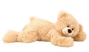 Teddybär liegend Hellbraun 60 cm flauschig Kuscheltier