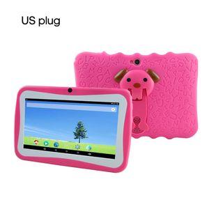 7 '' Kinder Tablet PC 8 GB Quad-Core-Wi-Fi-Tablet-PC-Pad mit stossfestem Silikon-Schutzhuelle fuer Kinder Paedagogisches Geschenk,Rose