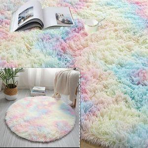 120cm Regenbogen Runden Flauschige Teppiche Bettvorleger Soft Shaggy Hochflor
