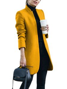 Damen Wollmantel Trench Jacke Damen Warmer langer Parka formeller Mantel,Farbe:Gelb,Größe:L