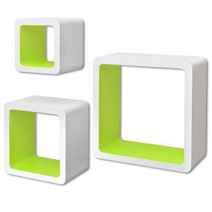 vidaXL 3er Set MDF Wandregal Hängeregal Cube Regal für Bücher/DVD, weiß-grün