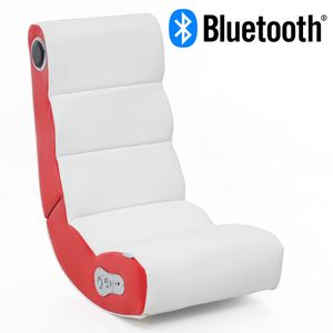 WOHNLING® Soundchair WOBBLE mit Bluetooth | Musiksessel mit eingebauten Lautsprechern | Multimediasessel für Gamer | 2.1 Soundsystem - Subwoofer | Music Gaming Sessel Rocker Chair , Farbe Artikel:Rot/Weiß