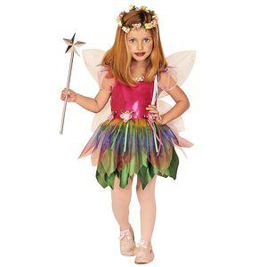 Regenbogen-Fee Kostüm für Kinder | 2-teilig: Kleid & Flügel | Größe 128 | ideal für Karneval & Fasching