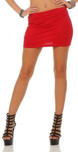 Damen Minirock in 17 Farben, Rot S/M 36/38