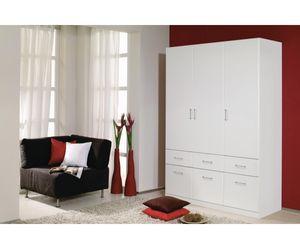 A9N69-3851 Aalen Weiß Kleiderschrank Jugendzimmerschrank Schrank 3türig mit 6 Schubladen ohne Spiegel ca. 136 cm