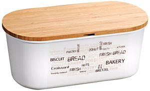 Kesper Große Brotbox mit Bambusdeckel, 34 x 14 x H18 cm, Melamin Frischhalte Box mitBambus Deckel, Schneidebrett, weiß