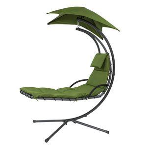 SoBuy OGS39-GR Schwebeliege mit Sonnenschirm Relaxliege Schwingliege Hängesessel Sonnenliege Belastbarkeit 120kg grün BHT ca: 170x210x100cm