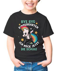 Kinder T-Shirt Jungen Einhorn Bye Bye Kindergarten ich rock jetzt die Schule Geschenk zur Einschulung Schulanfang Moonworks® schwarz 129-140 (9-10 Jahre)