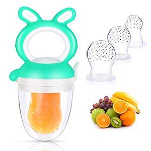 Fruchtsauger Baby, Fresh Fruit Schnuller für Baby & Kleinkind mit 3 Silikon Obstsauger Nippel Ersatz in 3 Größen Grün