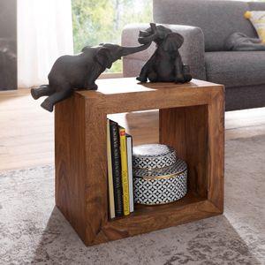 WOHNLING Standregal MUMBAI Massivholz Sheesham 44cm hoch Cube Regal Design Holzregal Naturprodukt Beistelltisch Landhausstil
