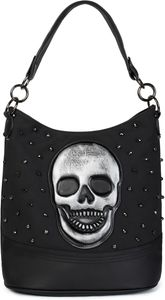 styleBREAKER Damen Hobo Bag Handtasche mit Totenkopf und Nieten, Shopper, Schultertasche, Tasche 02012264, Farbe:Schwarz