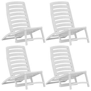 SIRUITON Kinder-Strandstühle Sonnenliege Gartenliege Relaxliege Schaukelliege Liegestuhl Schaukelstuhl Klappbar 4 Stk. Weiß Kunststoff
