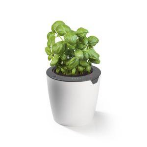 LAZY LEAF Blumentopf selbstgießend - 1,1 Liter - 17 cm - weiß/grau