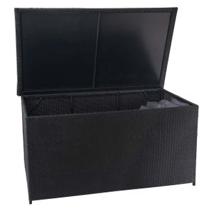 Poly-Rattan Kissenbox HWC-D88, Gartentruhe Auflagenbox Truhe  Basic schwarz, 80x160x94cm 950l