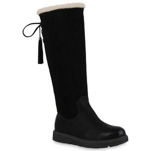 Giralin Damen Warm Gefütterte Winterstiefel Bequem Schnürer Fransen Schuhe 836571, Farbe: Schwarz, Größe: 36