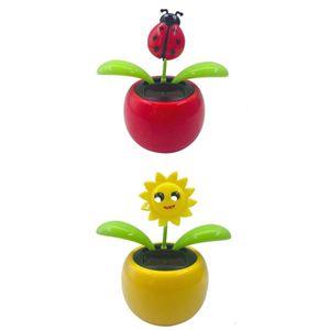 2 Stück Niedliche Blumen Solarbetriebene Solarfigur Wackelfigur Solar Figur Dekoration