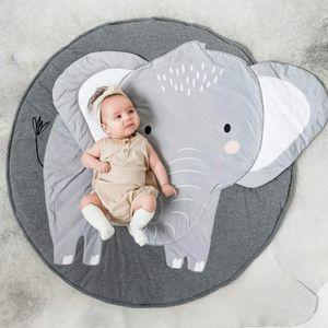 Baumwolle Krabbeldecke groß und weich gepolstert 90 x 90cm für Baby Kinder (Elefant)