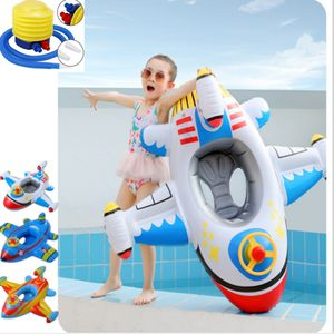 Baby Flugzeug Schwimmring Schwimmsitz Schwimmhilfe mit Luftpumpe Aufblasbar Babyboot Kinder Wasserspielzeuge