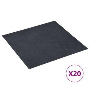 vidaXL PVC-Fliesen Selbstklebend 20 Stk. 1,86 m² Schwarzer Marmor